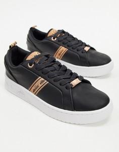 Черные кожаные кроссовки Ellesse-Черный