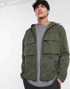 Куртка цвета хаки с карманами в стиле милитари ASOS DESIGN-Зеленый