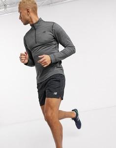 Темно-серый свитшот с короткой молнией New Balance Running Anticipate