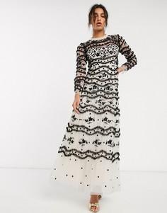 Платье макси в черно-кремовой гамме с вышивкой и цветочным узором Needle & Thread-Мульти