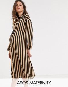 Платье-рубашка в полоску ASOS DESIGN Maternity-Мульти