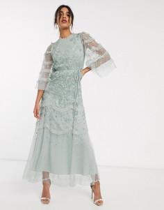 Ярусное платье макси мятного цвета с оборками на рукавах и вышивкой Needle & Thread-Зеленый