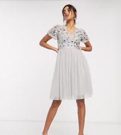 Лавандово-серое платье миди с юбкой из тюля и отделкой Needle & Thread-Серый