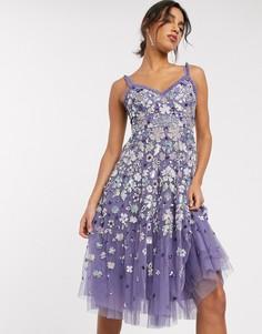 Фиолетовое платье миди на бретелях Needle & Thread-Синий