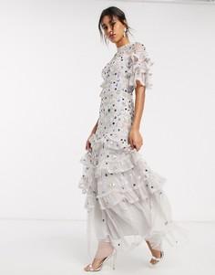 Ярусное платье макси с декоративной отделкой Needle & Thread-Серый