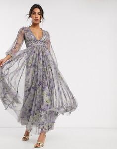 Фиолетовое платье макси с контрастным поясом и цветочным принтом Needle & Thread-Мульти