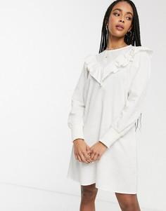 Белое свободное платье с оборками Monki-Белый
