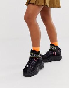 Черные высокие кроссовки со шнуровкой Buffalo London-Черный