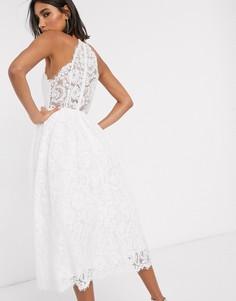 Кружевное свадебное платье миди с американской проймой ASOS EDITION-Белый
