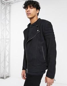 Черная байкерская куртка из замши ASOS DESIGN-Черный