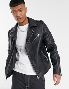 Черная байкерская куртка из искусственной кожи ASOS DESIGN-Черный