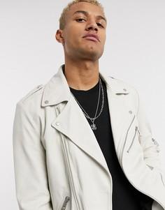 Белая кожаная байкерская куртка ASOS DESIGN-Белый