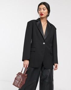 Oversized-пиджак с отделкой на спине ASOS WHITE-Черный