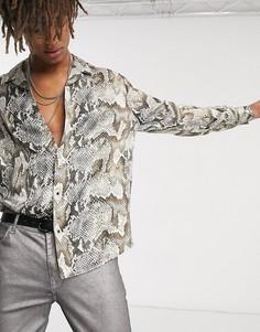 Рубашка со змеиным принтом и длинными рукавами Heart & Dagger-Серый