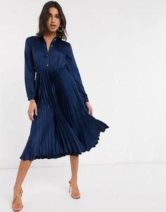 Темно-синее платье-рубашка миди с плиссированной юбкой Closet London-Темно-синий