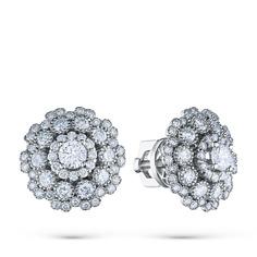 Пусеты из белого золота с бриллиантами э0901пс0819048 ЭПЛ Якутские Бриллианты