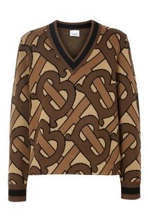 Коричневый пуловер с монограммами Burberry
