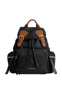 Черный рюкзак с кожаной отделкой Burberry