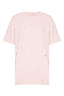 Розовая футболка со стразами Miu Miu