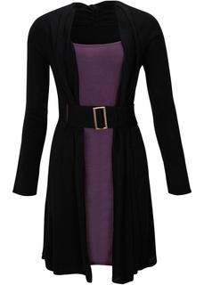 Платья с длинным рукавом Трикотажные платье и ремень Bonprix