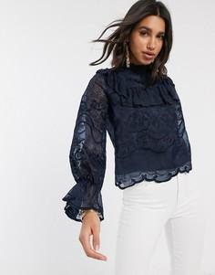 Темно-синяя кружевная блузка с оборками Y.A.S-Темно-синий
