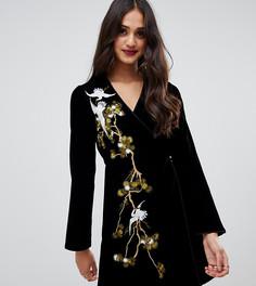 Черное бархатное платье с запахом и вышивкой Miss Selfridge-Черный