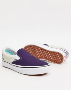 Кроссовки-слипоны с шахматным узором Vans classic-Фиолетовый