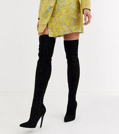 Черные ботфорты на каблуке-шпильке ASOS DESIGN-Черный