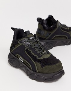 Черные кроссовки со вставками из искусственной цигейки Buffalo Chai-Черный