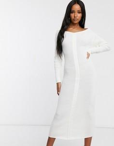 Платье миди цвета слоновой кости с открытыми плечами Fashionkilla-Кремовый