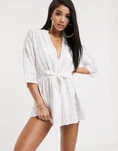 Полупрозрачное платье в стиле милитари South Beach-Белый