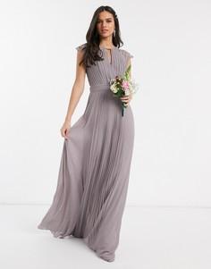 Серое платье макси с кружевными рукавами TFNC bridesmaid-Серый