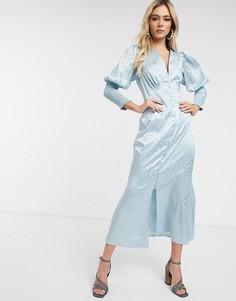 Голубое платье макси на пуговицах с длинными рукавами и леопардовым рисунком Never Fully Dressed-Синий