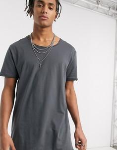 Черная свободная длинная футболка с овальным вырезом ASOS DESIGN-Черный