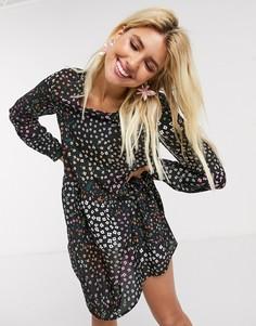 Свободное платье мини с цветочным принтом Never Fully Dressed-Мульти
