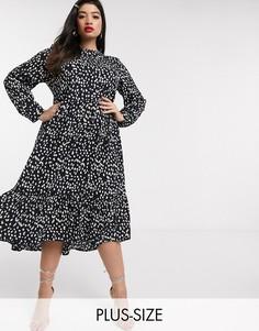 Трапециевидное платье макси в крапинку Never Fully Dressed Plus-Мульти