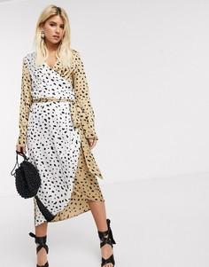 Платье миди с запахом, поясом и леопардовым принтом Never Fully Dressed-Мульти