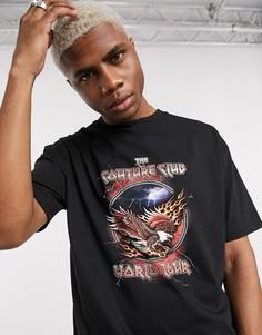 Черная oversized футболка со стразами The Couture Club-Черный