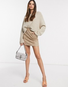 Светло-коричневая мини-юбка из искусственной замши Vero Moda-Коричневый