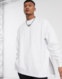 Белый длинный oversize-свитшот ASOS DESIGN