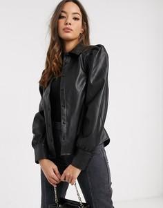 Черная рубашка из искусственной кожи с пышными рукавами Vero Moda-Черный