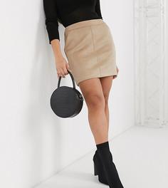 Светло-коричневая мини-юбка из искусственной кожи Vero Moda Petite-Серый