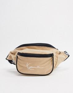 Бежевая вельветовая сумка Karl Kani-Бежевый