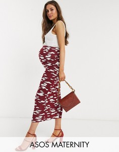 Бордовая юбка-карандаш с принтом ASOS DESIGN Maternity-Мульти