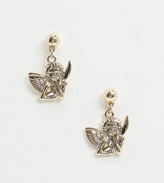 Золотистые серьги с подвесками-ангелами Monki-Золотой