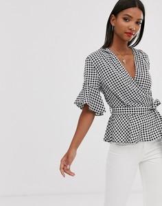 Укороченная блузка с оборками на рукавах, поясом и перекрещенными элементами AX Paris-Мульти