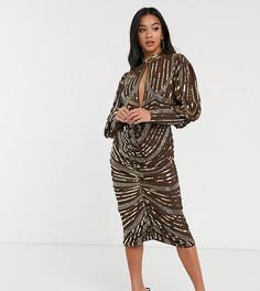 Платье миди с длинными рукавами и запахом на юбке ASOS DESIGN Petite-Мульти