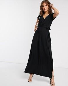 Черное платье макси с запахом и поясом ASOS DESIGN-Черный