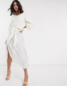 Белая атласная юбка с запахом Y.A.S-Белый