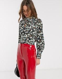 Блузка с перекрученной отделкой и цветочным принтом Topshop-Мульти